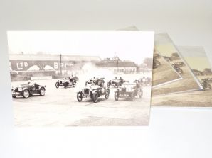 Austin 7s and MG at Brooklands 1930s.  Greetings card